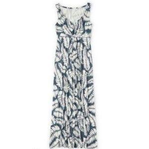 Boden Gray White Fern Jersey Maxi Day Dress 10